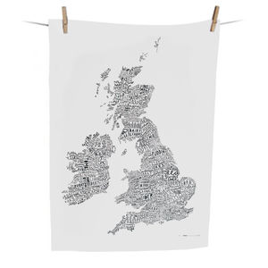 Word Map Of The British Isles Tea Towel