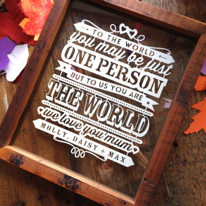 Mum You Are The World Personalised Papercut