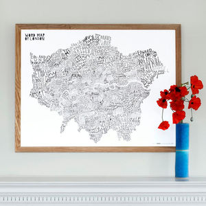 Word Map Of London / Blue Black - prints & art sale