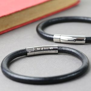 Engraved Men's Smooth Black Leather Bracelet - men's jewellery