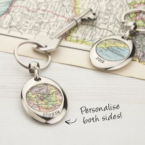 Map Personalised Keyring Circle