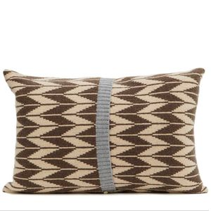 Brown + Oatmeal Knitted Trad Cushion