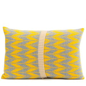 Grey + Yellow Knitted Trad Cushion