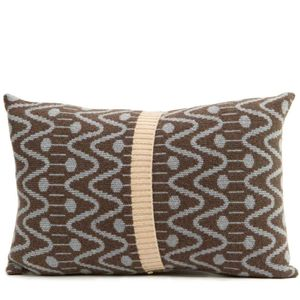 Grey + Brown Knitted Alpine Cushion