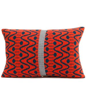 Blue + Red Knitted Alpine Cushion