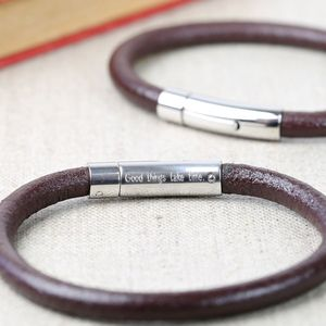 Engraved Men's Smooth Brown Leather Bracelet