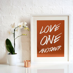 Hand Written Love One Another Foil Print