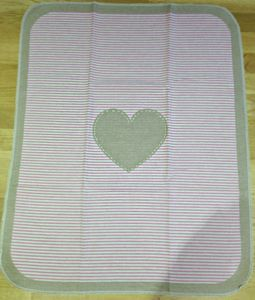 Cotton Heart Stripe Blanket - blankets, comforters & throws