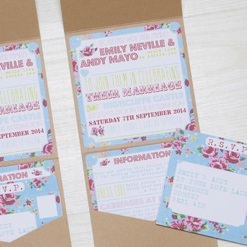 Pocketfold Floral Rose Wedding Invitation
