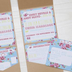 Pocketfold Floral Rose Wedding Invitation - wedding stationery