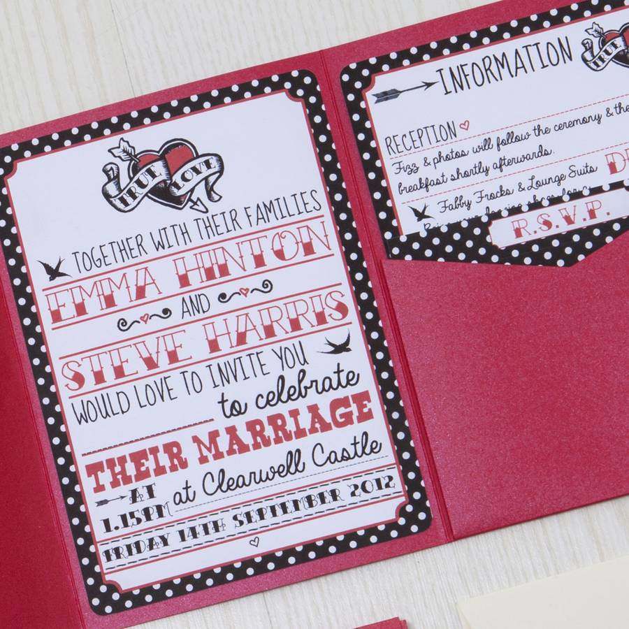 pocketfold rockabilly wedding invitation by lovely jubbly, Wedding invitations