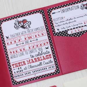 Pocketfold Rockabilly Wedding Invitation - invitations