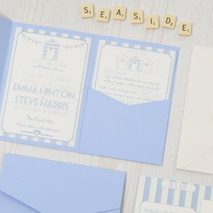 Pocketfold Beach Hut Wedding Invitation - reply & rsvp cards