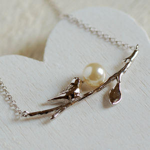 Sterling Silver Bird And Pearl Necklace
