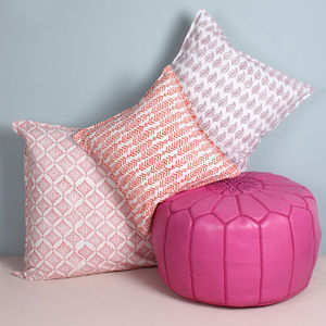 Block Printed Leaf Cushion
