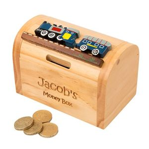 Wooden Train Personalised Money Box - gifts for babies