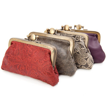 Handmade Leather Clip Purse Various Colours
