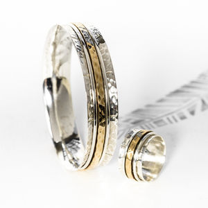 Karma Bronze And Silver Spinning Ring And Bangle Set - jewellery sets