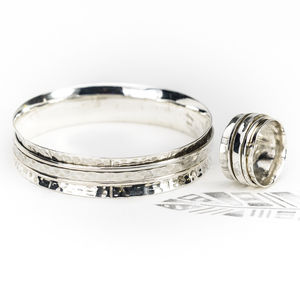 Chunky Karma Silver Spinning Ring And Bangle Set - rings