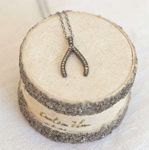 Pave Diamond Wishbone Necklace - bridal edit