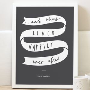 'Happily Ever After' Wedding Print - typography