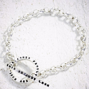 Silver Tiny Text Message Toggle Bracelet - personalised jewellery