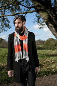 Tangerine And Grey College Scarf