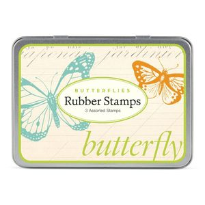 Set Of Three Butterfly Stamps