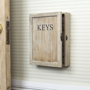 Natural Wood Keys Storage Cupboard - storage & organisers