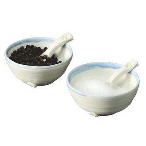 Ceramic Cobalt Blue Rim Salt And Pepper Bowl And Spoon - kitchen accessories