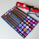 Knitting Needle Roll With Eight Sets Of Bamboo Needles