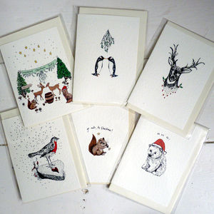 Pack Of Six Illustrated Christmas Cards - cards & wrap