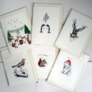 Pack Of Six Illustrated Christmas Cards