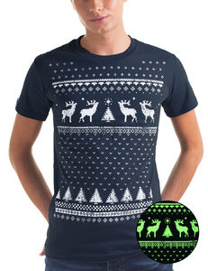 Glow In The Dark Navy Mens Christmas Reindeer T Shirt - last-minute christmas decorations