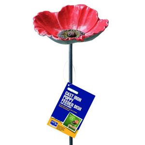 Cast Iron Poppy Bird Feeder Garden Ornament - shop by price