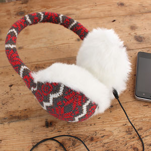 Knitted Scandi Design Earmuff Headphones - dog walking accessories