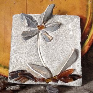 Decorative Mosaic Flower Tile With Brown Glass - garden