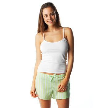 Lime green stripe pyjama shorts