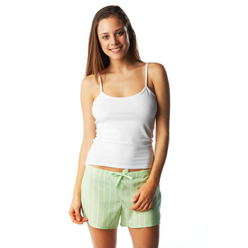 Lime green stripe pyjama shorts