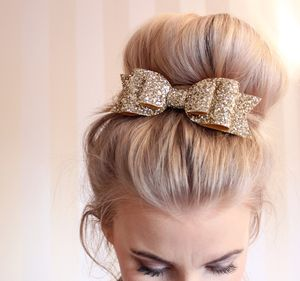 Oversized Glitter Hair Bow - womens