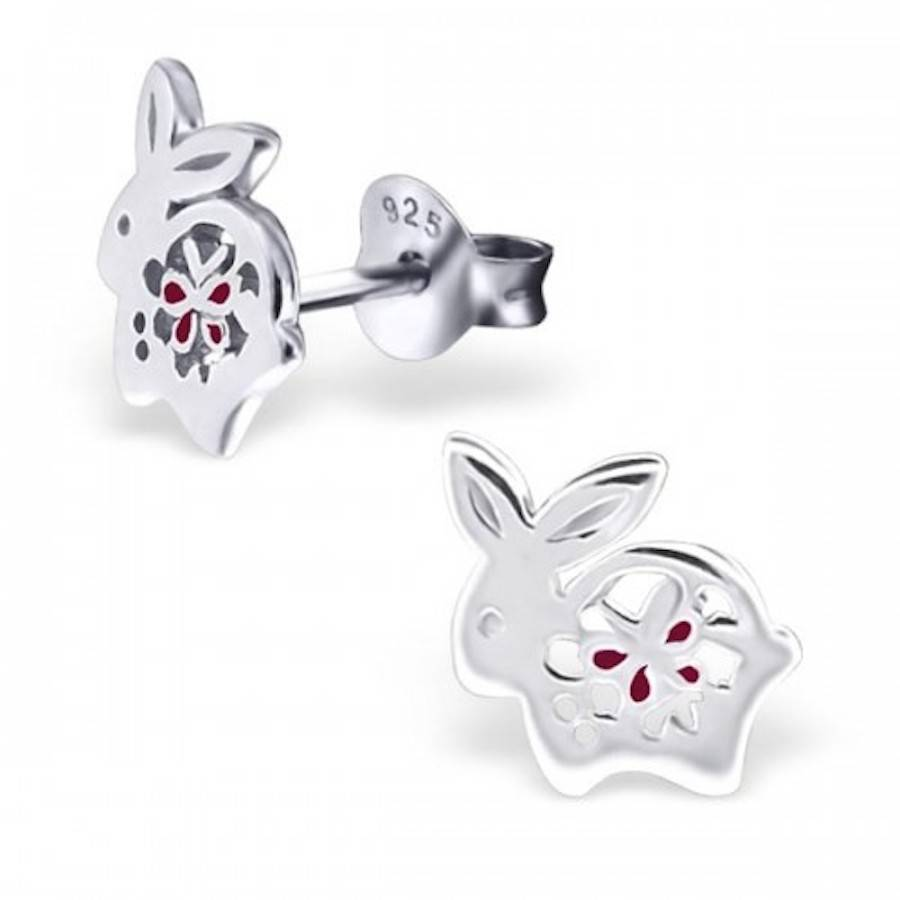 bunny earrings bunny rabbit earrings in sterling silver by 7343