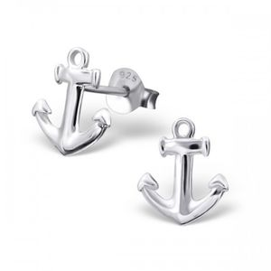 Anchor Earrings In Sterling Silver - earrings