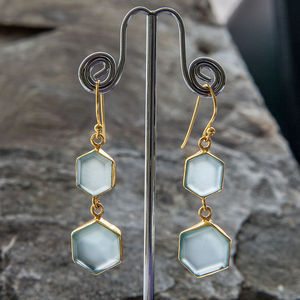 Blue Chalcedony Hexagonal Gold Earrings - for your other half