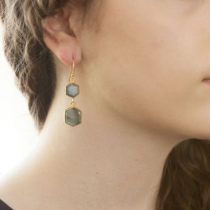 Labradorite Gold Hexagon Double Drop Earrings