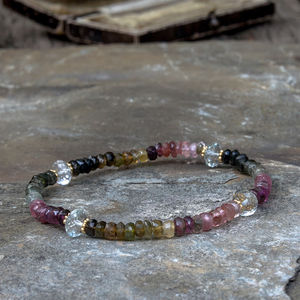 Tourmaline And Aquamarine Friendship Bracelet - october birthstone