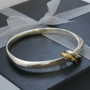Wide Bangle With Triangle Charms