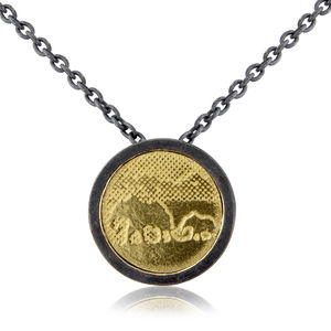 Black And Gold Elephant Necklace