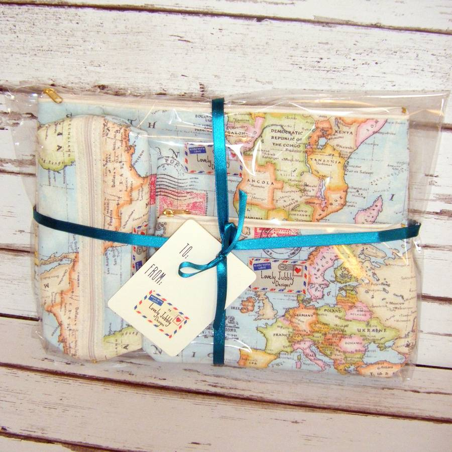 World map travel gift makeup toiletry wash bag by lovely jubbly packaged world map wash bag gift set 2 box small large gumiabroncs Image collections