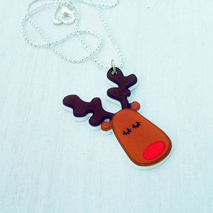 Rudolph The Reindeer Acrylic Necklace - stocking fillers