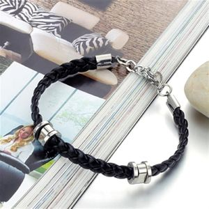 Mens Leather Bracelet Two Tone